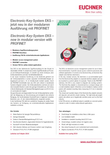 Electronic-Key-System EKS – now in modular version with PROFINET