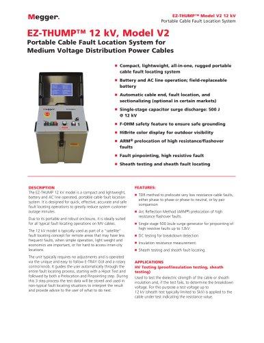 HIGHLY PORTABLE FAULT LOCATION SYSTEM FOR MV NETWORKS | EZ-THUMP 12 kV, model V2