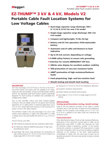 HIGHLY PORTABLE FAULT LOCATION SYSTEMS FOR LV NETWORKS | EZ-THUMP 3 kV and EZ-THUMP 4 kV