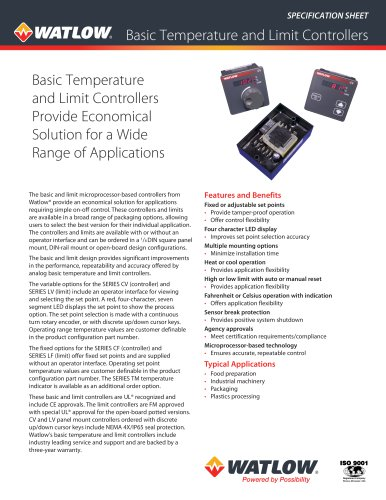 Basic Temperature and Limit Controllers