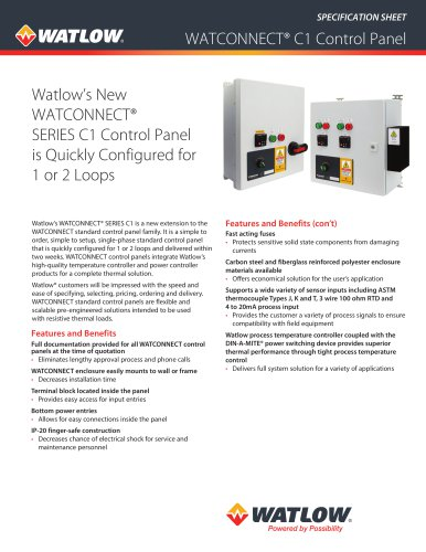 WATCONNECT® Extra Small (C1) Specification Sheet