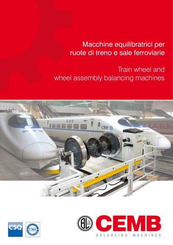 Train wheel and wheel assembly balancing machines