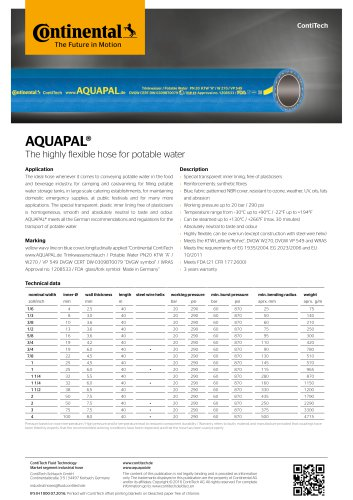Data sheets Water Hoses IFS-data-water
