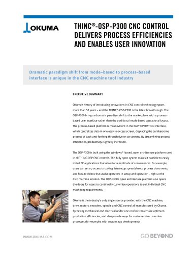 THINC®-OSP-P300 CNC Control Delivers Process Efficiencies and Enables User Innovation