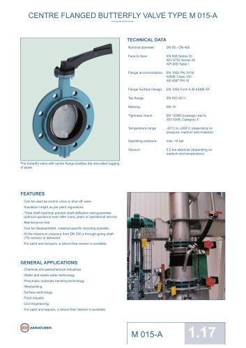 CENTRE FLANGED BUTTERFLY VALVE TYPE M 015-A