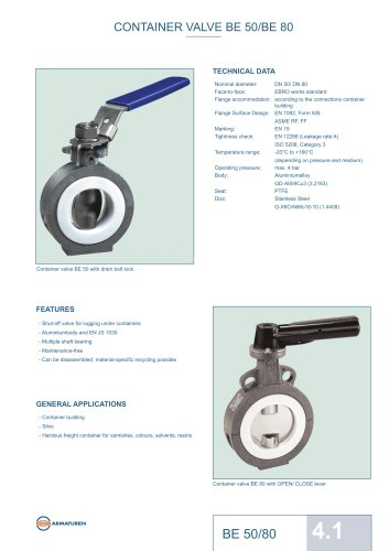 CONTAINER VALVE BE 50/BE 80