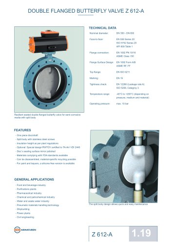 DOUBLE FLANGED BUTTERFLY VALVE Z 612-A