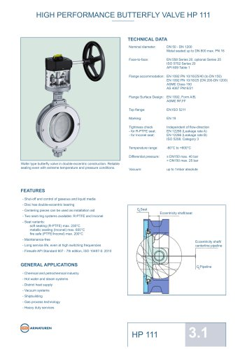 HIGH PERFORMANCE BUTTERFLY VALVE HP 111