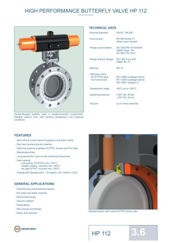 HIGH PERFORMANCE BUTTERFLY VALVE HP 112