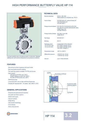 HIGH PERFORMANCE BUTTERFLY VALVE HP 114