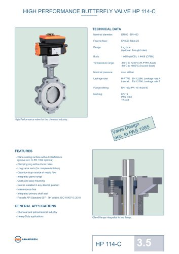 HIGH PERFORMANCE BUTTERFLY VALVE HP 114-C