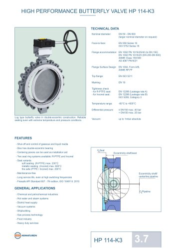 HIGH PERFORMANCE BUTTERFLY VALVE HP 114-K3