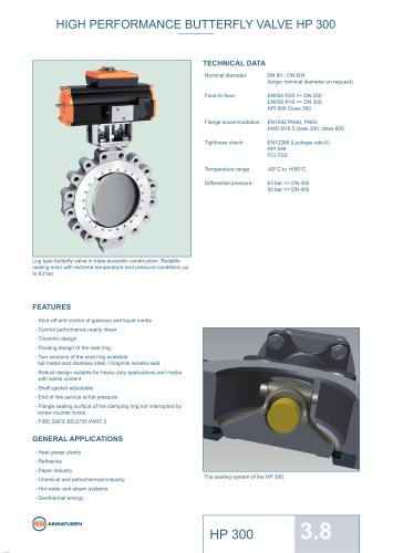 HIGH PERFORMANCE BUTTERFLY VALVE HP 300