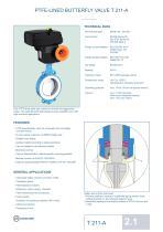 PTFE-LINED BUTTERFLY VALVE T 211-A