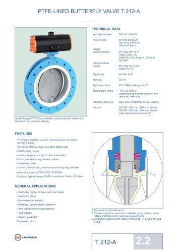 PTFE-LINED BUTTERFLY VALVE T 212-A