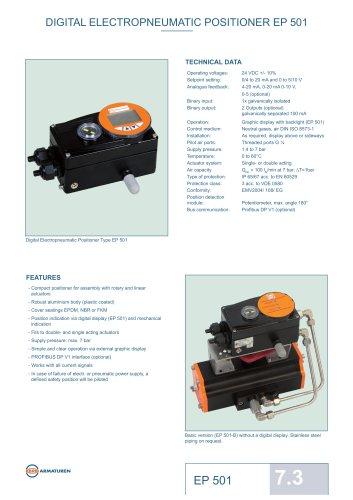 Technical Datasheet Digital Positioner Unit EBRO