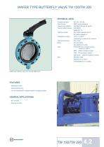 WAFER TYPE BUTTERFLY VALVE TW 150/TW 200