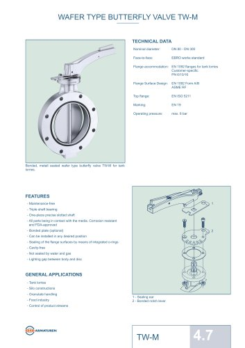 WAFER TYPE BUTTERFLY VALVE TW-M