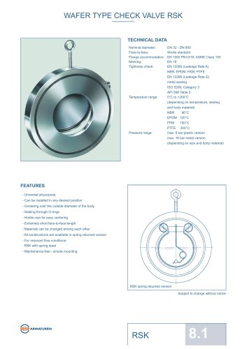 WAFER TYPE CHECK VALVE RSK