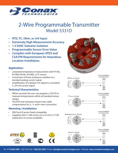 2 Wire Programmable Transmitter - 5331D - Conax Technologies
