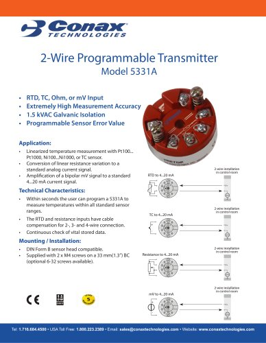 2 Wire Programmable Transmitter - Model 5331A - Conax