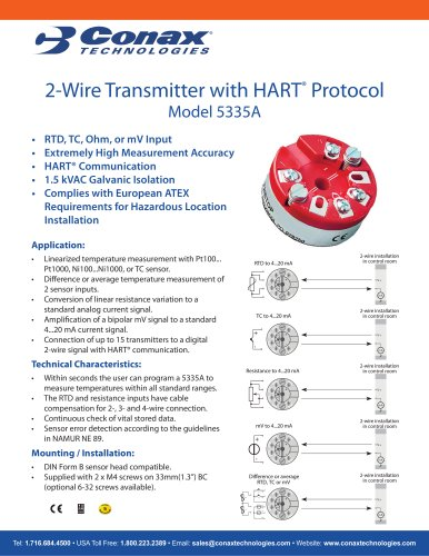 2-Wire Transmitter with HART Protocol - Model 5335A