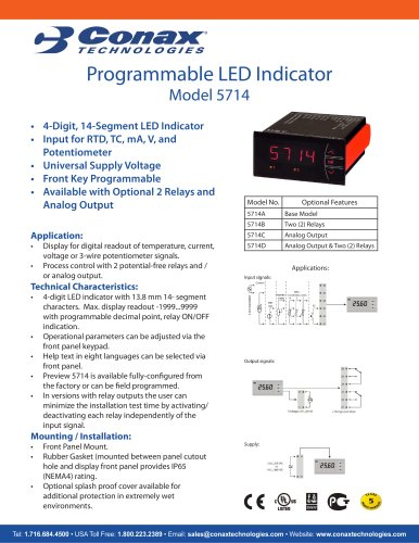 Programmable LED Indicator - Model 5714 - Conax Technologies