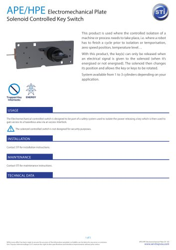 APE/HPE Electromechanical Plate Solenoid Controlled Key Switch