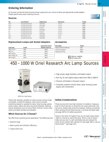 450 - 1000 W Research Arc Lamp Sources