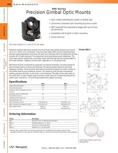 605 Series Low-distortion Gimbal Mirror Mount