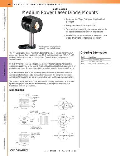 760 Series Medium Power Laser Diode Mounts