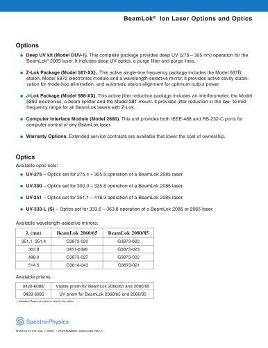 BeamLok® Ion Laser Options and Optics