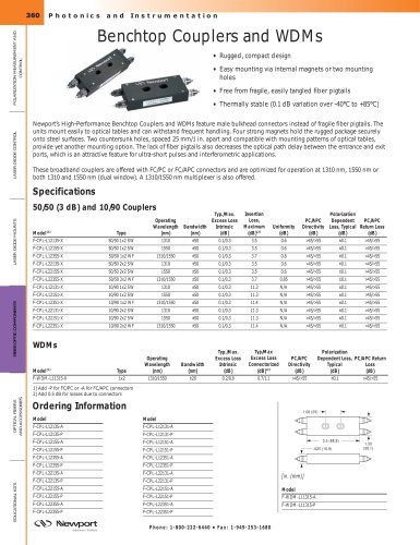 Benchtop Couplers and WDMs
