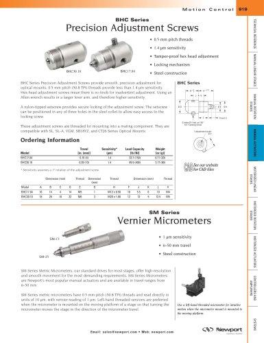 BHC Series Precision Adjustment Screws