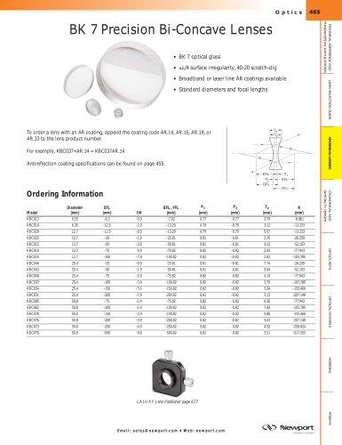 BK 7 Precision Bi-Concave Lenses