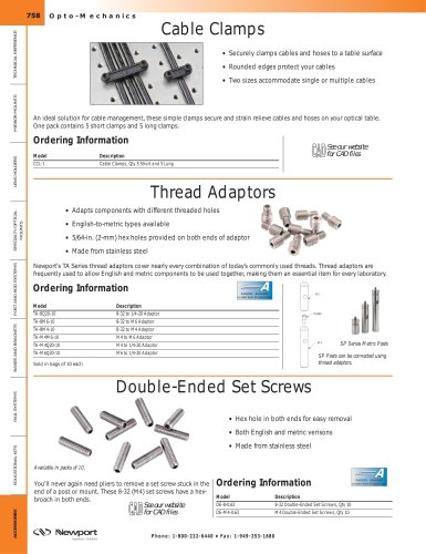 Cable Clamps, Thread Adaptors, Double-Ended Set Screws