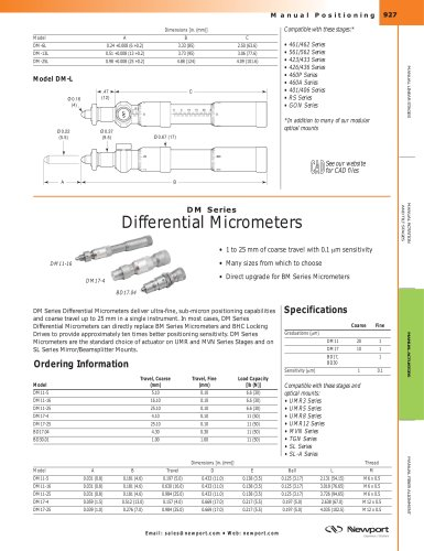 DM Series Differential Micrometers