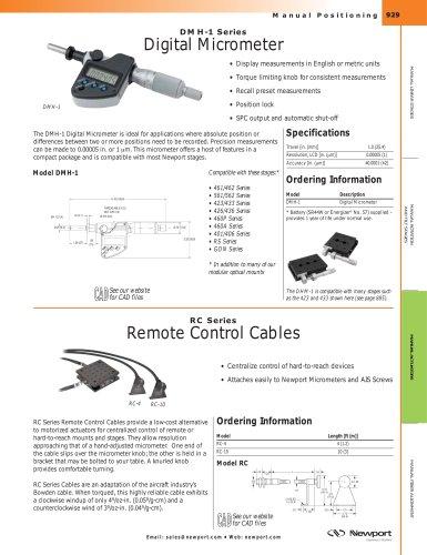 DMH-1 Series Digital Micrometer, Micrometer Remote Control Cable