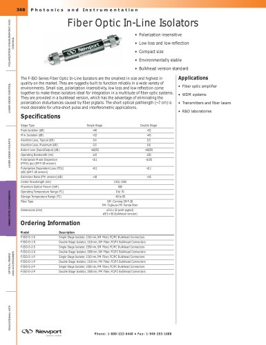 Fiber Optic In-Line Isolators