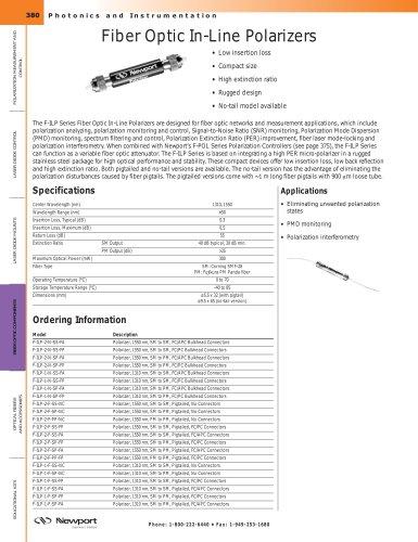Fiber Optic In-Line Polarizers