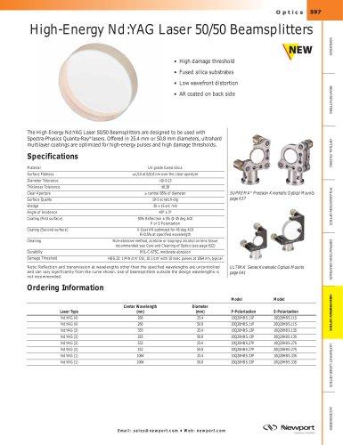High-Energy Nd:YAG Laser 50/50 Beamsplitters