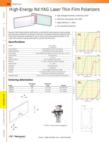High-Energy Nd:YAG Laser Thin Film Polarizers