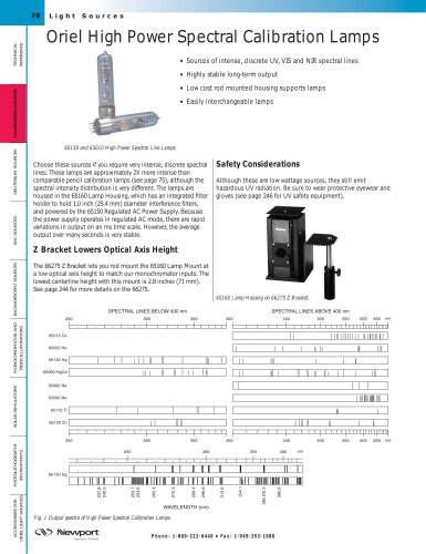 High Power Spectral Calibration Lamps