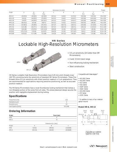 HR Series Lockable High-Resolution Micrometers