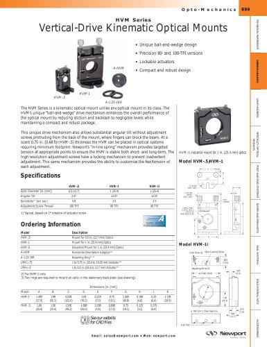 HVM Series Vertical-Drive Kinematic Optical Mounts