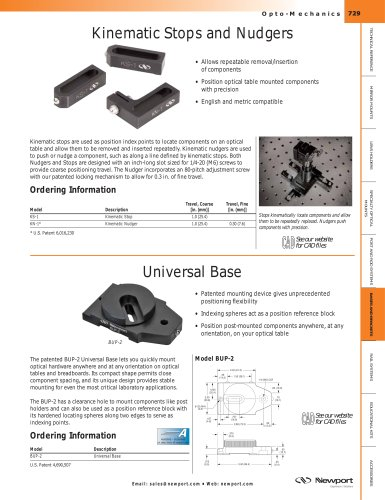 Kinematic Stops and Nudgers, Universal Base, Kinematic Bases