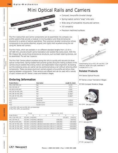 Mini Optical Rails and Carriers