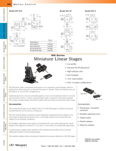 MS Series Miniature Linear Stages