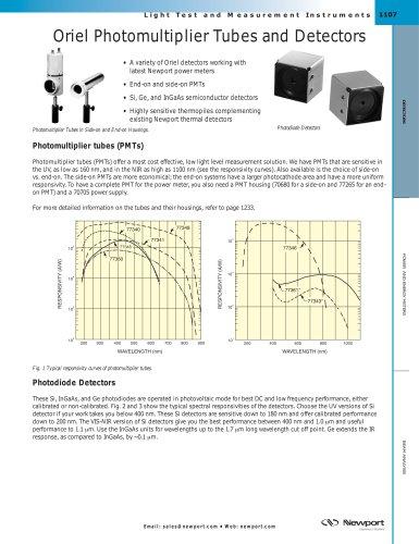 Oriel Photomultiplier Tubes and Detectors