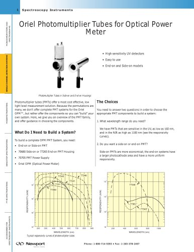 Oriel Photomultiplier Tubes for Optical Power Meter